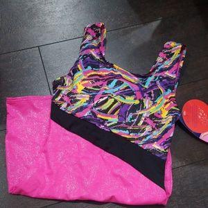 Danskin girls leotard shorts tank 7/ 8 hot pink